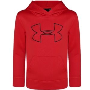 Under Armour Boys Youth Big Logo Hoodie Red/Blk Si